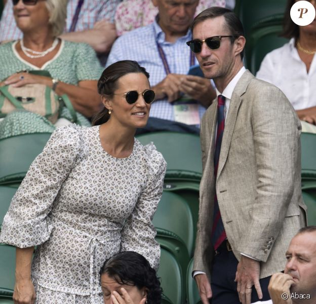 Pippa Middleton and her husband James Matthews watch the tennis on day eleven of the Wimbledon Tennis Championships in London. UK, on July 13, 2018. Photo by Stephen Lock / i-Images/ABACAPRESS.COM14/07/2018 - London