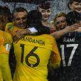 Le président Emmanuel Macron et Steve Mandanda et Adil Rami - Finale de la Coupe du Monde de Football 2018 en Russie à Moscou, opposant la France à la Croatie (4-2) le 15 juillet 2018 © Moreau-Perusseau / Bestimage