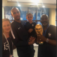 Steven Nzonzi en famille après la victoire des Bleus lors de la Coupe du monde en Russie. 14 juillet 2018.