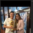 Florian Thauvin avec sa compagne Charlotte Pirroni après la victoire des Bleus lors de la Coupe du monde en Russie. 15 juillet 2018.