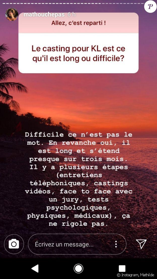 """Casting de """"Koh-Lanta"""", les coulisses dévoilées par Mathilde - Story Instagram, 26 juillet 2018"""