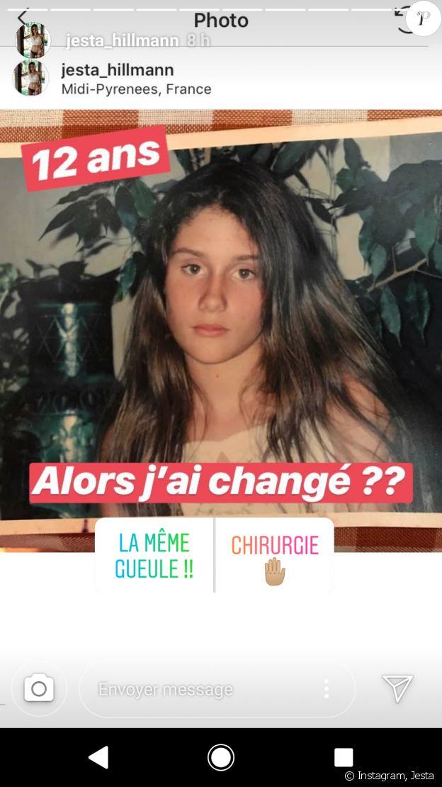 """Jesta de """"Koh-Lanta"""" et """"La Villa"""" dévoile une photo d'elle à l'âge de 12 ans - story Instagram, 4 août 2018."""
