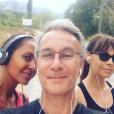 Laurent Petitguillaume en séance running avec Karine Le Marchand et Mathilda May lors de leurs vacances à Saint-Rémy-de-Provence en août 2018, photo Instagram.