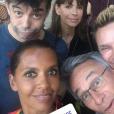 Karine Le Marchand, Stéphane Plaza, Mathilda May, Jeanfi Janssens et Laurent Petitguillaume lors de leurs vacances à Saint-Rémy-de-Provence en août 2018.
