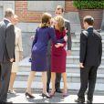 Letizia d'Espagne, le roi Juan Carlos, Nicolas Sarkozy, Carla Bruni, la reine Sofia et le prince Felipe, au Palais Zarzuela de Madrid, le 27 avril 2009 !