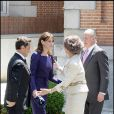LLe roi Juan Carlos, Nicolas Sarkozy, Carla Bruni et la reine Sofia, au Palais Zarzuela de Madrid, le 27 avril 2009 !