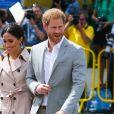 Le prince Harry, duc de Sussex et sa femme Meghan Markle, duchesse de Sussex, arrivent à l'exposition commémorative du centenaire de la naissance de Nelson Mandela au centre Southbank à Londres le 17 juillet 2018.