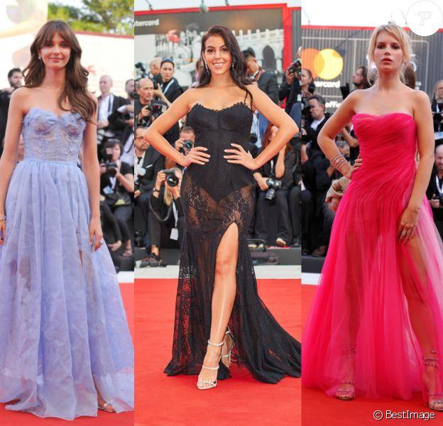 Annabelle Belmondo, Georgina Rodriguez et Lottie Moss - Cérémonie d'ouverture du 75e Festival du film de Venise, la Mostra, le 29 août 2018.