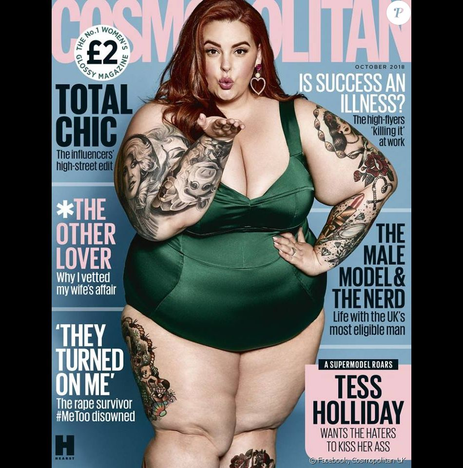 Tess Holliday en couverture du magazine Cosmopolitan UK. Numéro d'octobre 2018.