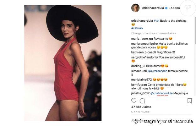 Cristina Cordula dévoile une sublime photo de ses années mannequin sur Instagram. Août 2018.
