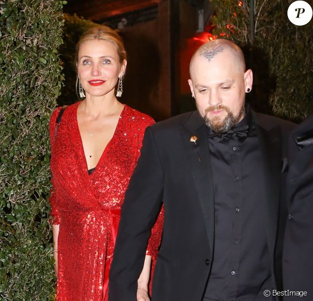 Cameron Diaz et son mari Benji Madden - Les célébrités quittent la soirée de fiançailles de Gwyneth Paltrow et Brad Falchuk à Los Angeles le 14 avril 2018.