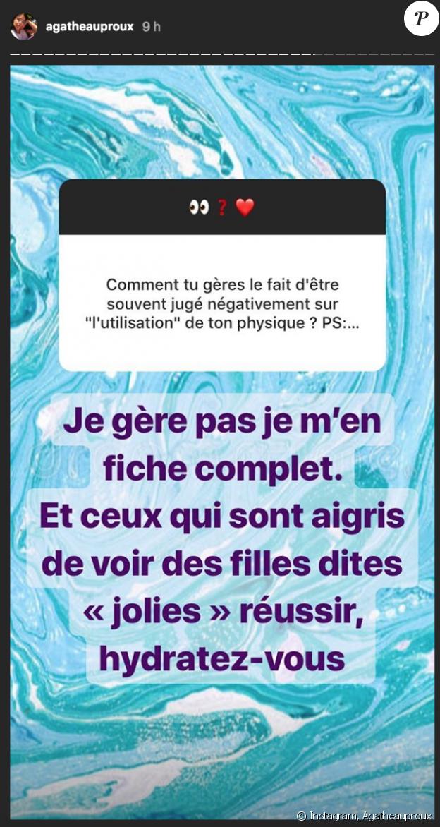 Agathe Auproux répond à ses détracteurs sur Instagram. Août 2018.