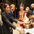 """Le prince Harry, duc de Sussex et Meghan Markle, duchesse de Sussex, assistent à la comédie musicale """"Hamilton"""" au théâtre Victoria Palace à Londres le 29 août 2018."""