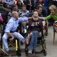 La reine Mathilde de Belgique visitait le centre de loisirs Ter Helme à Oostuinkerke le 4 septembre 2018 à l'occasion d'une opération en faveur de personnes en situation de handicap physique.