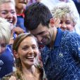 Novak Djokovic, vainqueur de l'US Open de Tennis 2018 à New York, avec sa femme Jelena, le 9 septembre 2018.