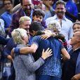 Novak Djokovic, vainqueur de l'US Open de Tennis 2018 à New York, avec ses proches, le 9 septembre 2018.