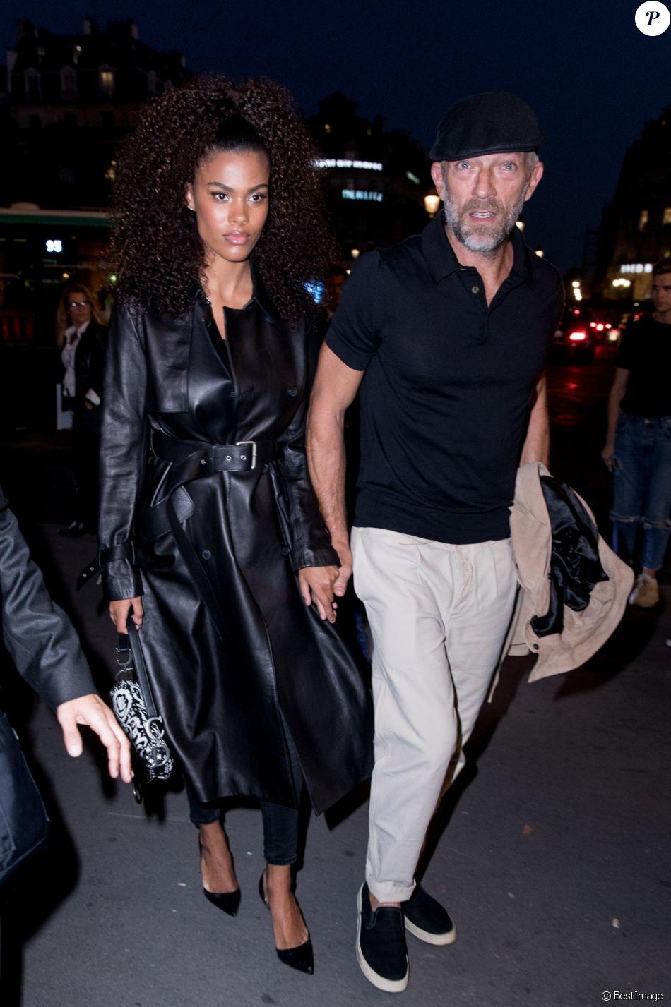 Vincent Cassel et sa femme Tina Kunakey lors de la soirée du 70ème  anniversaire de Longchamp