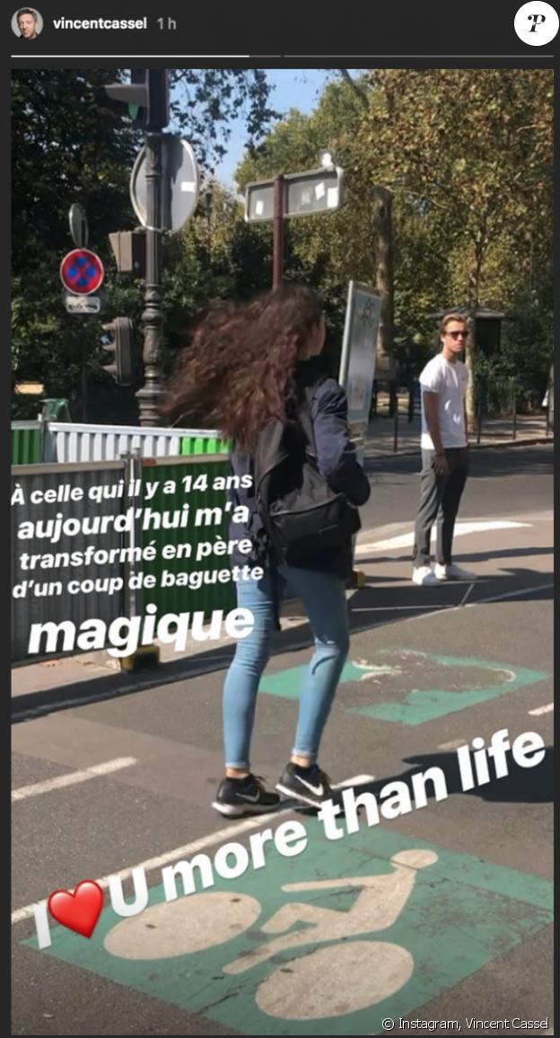 Vincent Cassel a publié une photo de sa fille Deva pour ses 14 ans le 12 septembre 2018