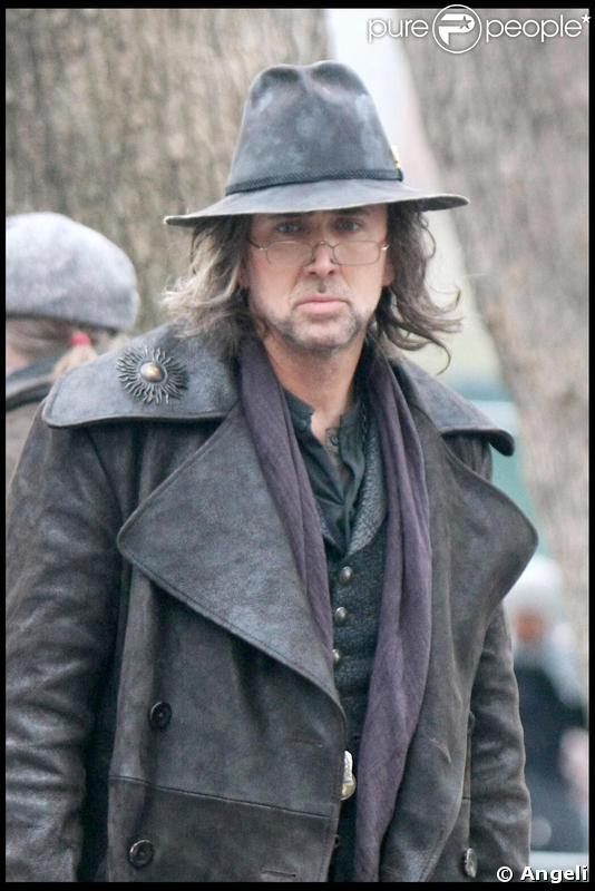 Nicolas Cage sur le tournage de The Sorcerer's Apprentice à New York