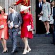 Lord Frederick Windsor entouré de sa femme Sophie Winkleman et sa soeur Lady Gabriella Windsor à la cathédrale St Paul de Londres le 10 juin 2016.