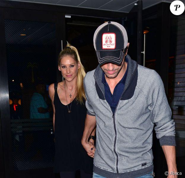 Enrique Iglesias et Anna Kournikova sont allés dîner auPalm Restaurant à Beverly Hills, Los Angeles, le 6 août 2015