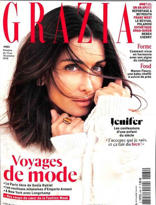 """Couverture du magazine """"Grazia"""" en kiosque le 12 octobre 2018."""