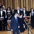 """Le roi Felipe VI et la reine Letizia d'Espagne, assistent au 27ème concert """"Princess Asturias Awards"""" à l'auditorium """"Principe Felipe"""" à Madrid, le 18 octobre 2018."""