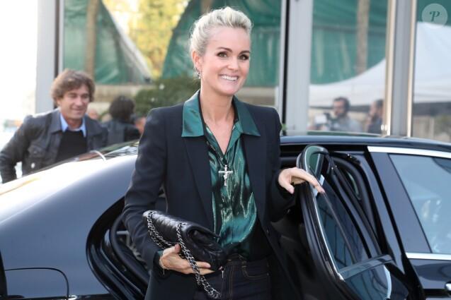 Laeticia Hallyday arrive dans les locaux de TF1 pour une interview le jour de la sortie de l'album posthume de J.Hallyday le 19 octobre 2018.
