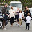 Ben Affleck et son ex Jennifer Garner passent la journée avec leurs enfants Violet, Seraphina et Samuel à Los Angeles, le 3 octobre 2018