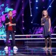 """Elodie, Ismaël et Maëlysse dans """"The Voice Kids 5"""" sur TF1, le 9 novembre 2018."""