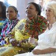 Camilla Parker Bowles, duchesse de Cornouailles et la première dame du Ghana Rebecca Akufo-Addo participent à un grand déjeuner organisé par le Commonwealth à l'école International (G.I.S.) à Accra au Ghana le 5 novembre 2018.
