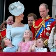 Le prince Charles avec ses fils les princes Harry et William et la famille royale au balcon du palais de Buckingham le 9 juin 2018 lors de la parade Trooping the Colour.