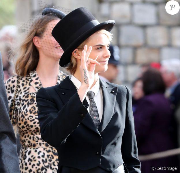 Cara Delevingne - Les invités arrivent à la chapelle St. George pour le mariage de la princesse Eugenie d'York et Jack Brooksbank au château de Windsor, Royaume Uni, le 12 octobre 2018.