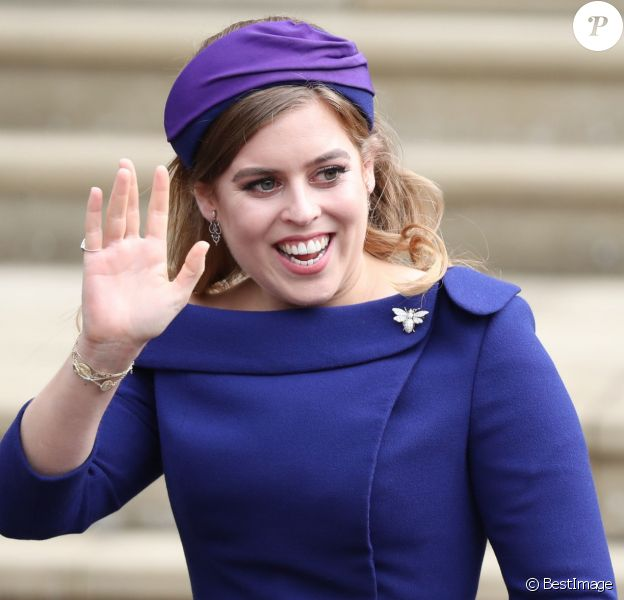 La princesse Beatrice d'York - Les invités arrivent à la chapelle St. George pour le mariage de la princesse Eugenie d'York et Jack Brooksbank au château de Windsor, Royaume Uni, le 12 octobre 2018.