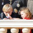 La princesse Gabriella et le prince héréditaire Jacques de Monaco au balcon du palais princier lors du défilé militaire de la Fête nationale monégasque, le 9 novembre 2018. © Dominique Jacovides / Bestimage