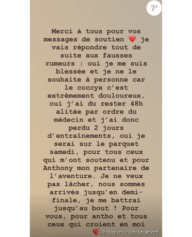 """Iris Mittenaere donne de ses nouvelles après sa lourde chute pendant les répétitions de """"Danse avec les stars"""", le 20 novembre 2018."""