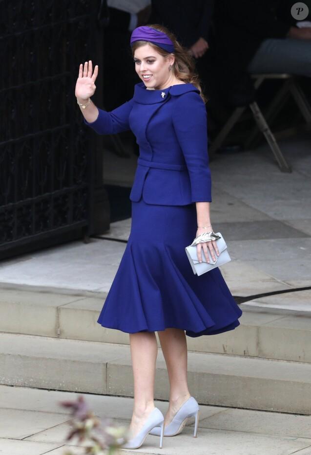 La princesse Beatrice d'York - Sorties après la cérémonie de mariage de la princesse Eugenie d'York et Jack Brooksbank en la chapelle Saint-George au château de Windsor le 12 octobre 2018.
