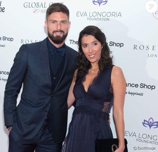 Olivier Giroud et sa femme Jennifer Giroud - Les célébrités posent lors du photocall de la soirée Global Gift à Londres le 2 novembre 2018.