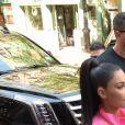 Kim Kardashian avec ses enfants Saint West et Chicago West - Kim Kardashian arrive avec ses enfants à la soirée SNL de son mari K. West & L. Pump à New York, le 29 septembre 2018