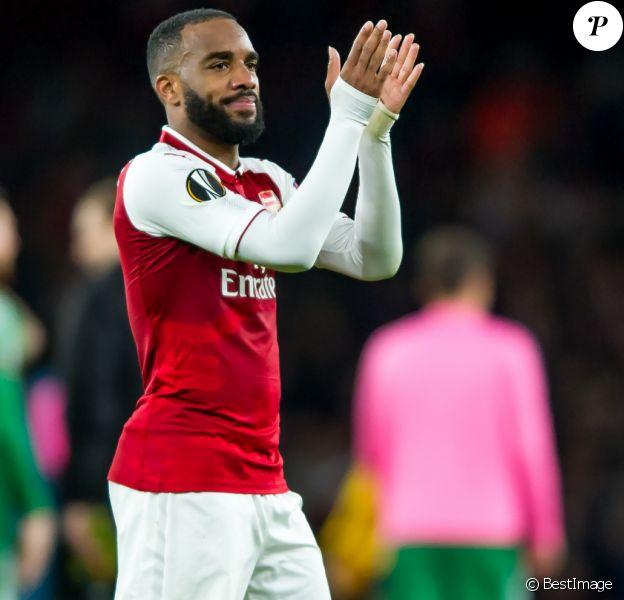 """Alexandre Lacazette lors de la demi-finale d'Europa League """"Arsenal - Atletico Madrid"""" à l'Emirates Stadium à Londres, le 26 avril 2018."""