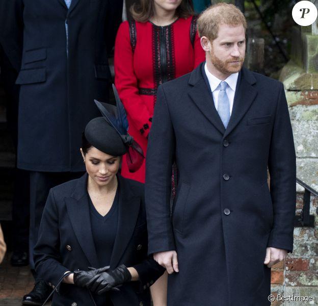 Le prince Harry, duc de Sussex et sa femme Meghan Markle, la duchesse de Sussex enceinte - La famille royale britannique se rend à la messe de Noël à l'église Sainte-Marie-Madeleine à Sandringham, le 25 décembre 2018.