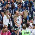 Les amis de Paul Pogba, Yeo Pogba (mère de Paul Pogba), Maria Salaues (compagne de Paul Pogba porte une bague de fiançailles) - Célébrités dans les tribunes lors du match de coupe du monde opposant la France au Danemark au stade Loujniki à Moscou, Russia, le 26 juin 2018. Le match s'est terminé par un match nul 0-0. © Cyril Moreau/Bestimage