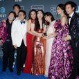 Ken Jeong, Nico Santos, Awkwafina, Michelle Yeoh, Constance Wu, Gemma Chan, Harry Shum Jr. à la press room de la soirée des 24ème Critics Choice Awards au Barker Hangar à Santa Monica, Los Angeles, Californie, Etats-Unis, le 13 janvier 2019.