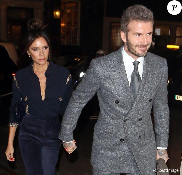 """David et Victoria Beckham arrivent au dîner """"Mens GQ"""" pour célébrer la Fashion Week à Londres le 7 janvier 2019."""