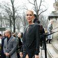 """Céline Dion quitte l'hôtel De Crillon pour se rendre au Grand Palais et assister au défilé Haute Couture printemps-été 2019 """"Alexandre Vauthier"""". Paris, le 22 janvier 2019."""