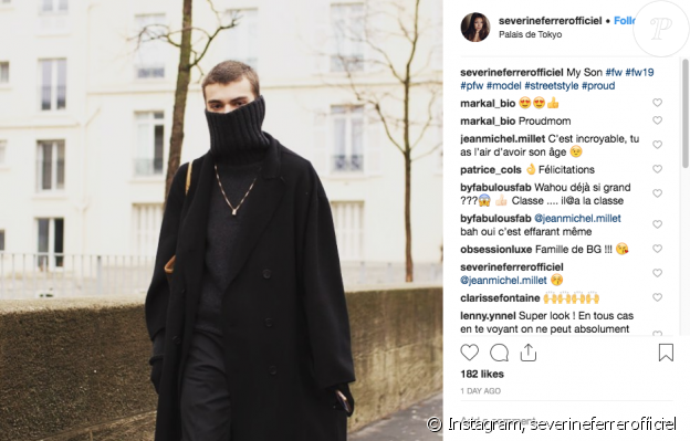 Séverine Ferrer, fière de son fils à la Fashion Week de Paris, le 23 janvier 2019.
