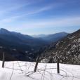 La chanteuse Alizée, sa fille Annily, Grégoire Lyonnet et Johann Jacotey à la neige en Corse, le 26 janvier 2019.