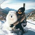 Alizée et son chien Jon Snow, le 26 janvier 2019 en Corse.