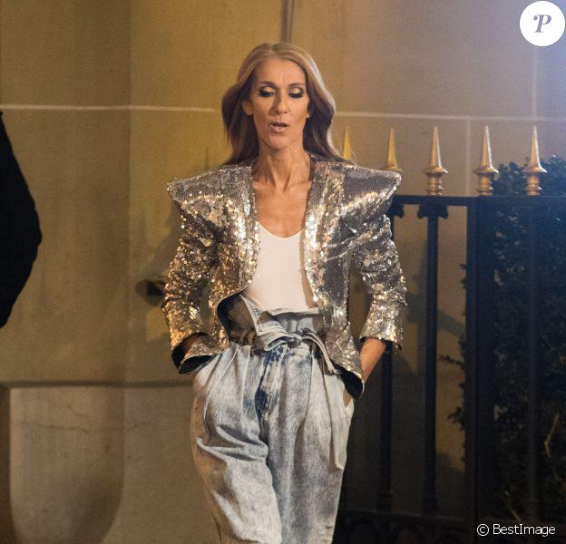 Céline Dion en tournage pour la maison l'Oréal à l'hôtel Plaza Athénée à Paris, France, le 30 janvier 2019