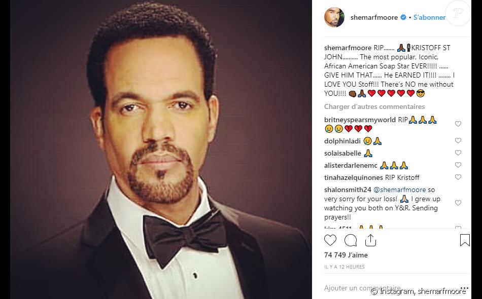 Shemar Moore rend hommage à Kristoff St. John sur Instagram le 4 février 2019.